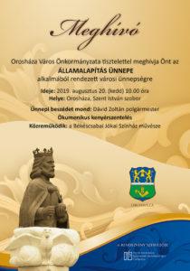 Államalapítás ünnepe Orosházán @ Orosháza, Szent István szobor